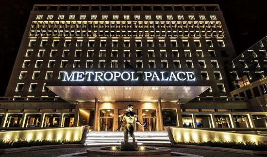 Metropol Palace Beograd - hotel front night