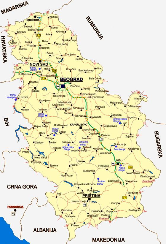 Banje Srbije Udaljenost Izmedju Gradova Mape Banje U Srbiji