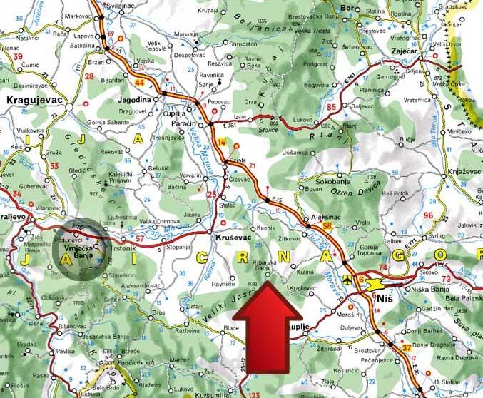Ribarska Banja Mapa